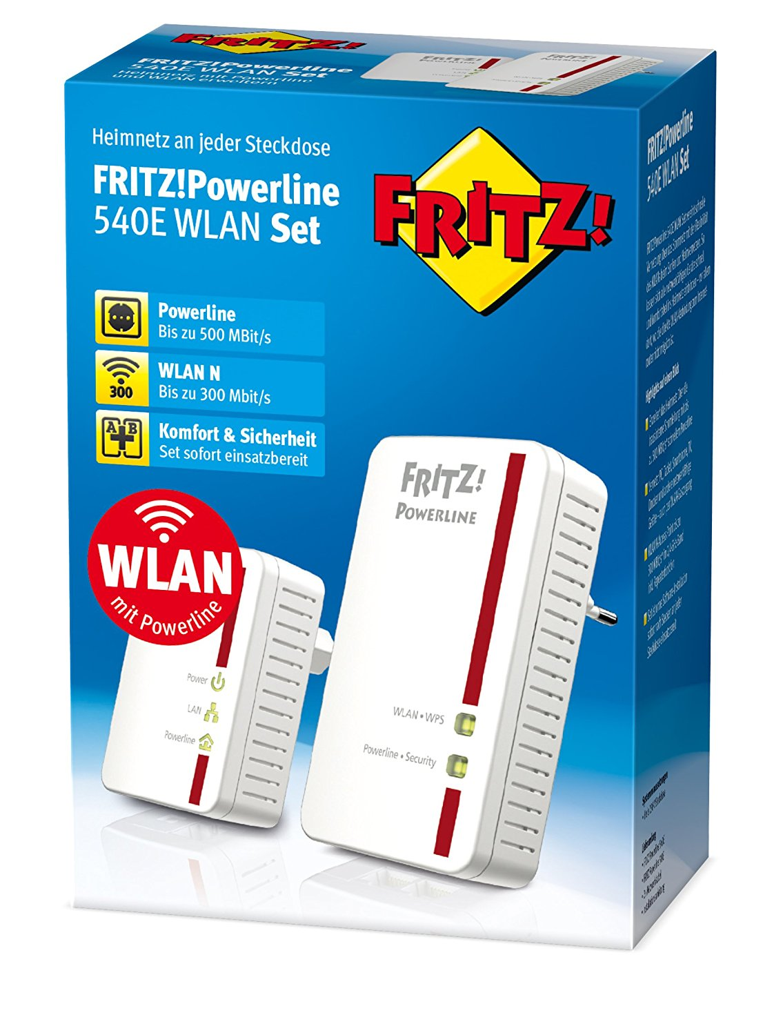 AVM FRITZ!Powerline 540E/510E WLAN Set - Weiß