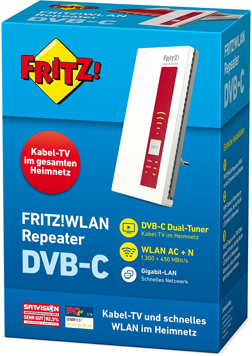AVM FRITZ!WLAN Repeater DVB-C Dual Tuner für Kabel TV Wireless Video-/Audio