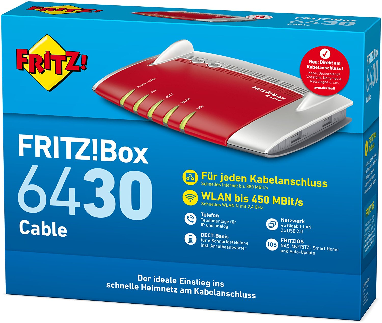 AVM FRITZ!Box 6430 Cable Kabel-WLAN-Router