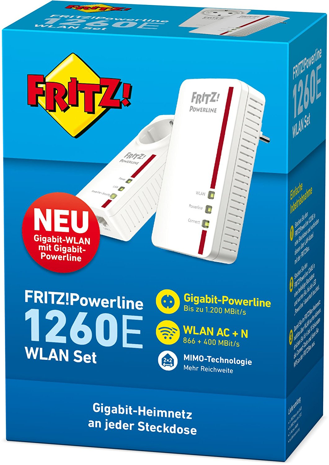 AVM FRITZ!Powerline 1260E/1220E WLAN Set - Weiß